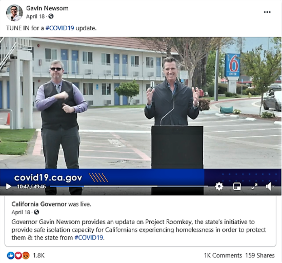 Facebook post from Governor Newsom on April 27th.
