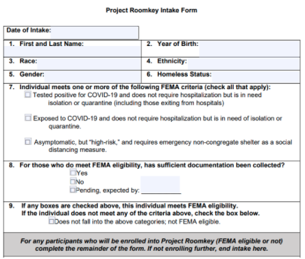 """Cropped screenshot of the """"sample intake form"""" offered by CDSS for providers offering Roomkey services."""