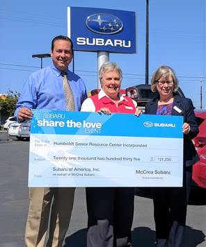 """Humboldt Senior Resource Center (HSRC) is proud to announce that it will be participating in the 2020 Subaru Share the Love Event as a member of Meals on Wheels America – one of four national Share the Love charitable partners supported through the campaign. From now through January 4, 2021, Subaru of America will donate $250 for every new Subaru vehicle purchased or leased to the customer's choice of participating charities. As a Home Town Charity, HSRC has the opportunity to receive an additional $250 per vehicle from McCrea Subaru when designated by the buyer. """"The Subaru Share the Love campaign has had such a positive impact on HSRC's Senior Nutrition Program, which depends on community support to continue to offer the senior dining programs and Home Delivered Meals. How we are providing meal may look a little different during the pandemic, but the program is still going strong and actually serving even more individuals and meals than before. McCrea Subaru is a great partner in supporting the Nutrition Program. If you are considering purchasing a Subaru this holiday season, be sure to designate the Humboldt Senior Resource Center as a beneficiary in the Share the Love event!"""" says Barbara Walser, HSRC's Director of Nutrition & Activities. Jason Ghera, McCrea Subaru General Manager, shares, """"Our community is very lucky to have the Humboldt Senior Resource Center with access to all of the valuable services that help our seniors stay healthy and independent. McCrea Subaru is happy to be able to support delivering more meals to local seniors in need through the Subaru Share the Love program."""" Over the last 12 years, Subaru of America and its participating retailers have donated more than $176 million to its charity partners. This year's Subaru Share the Love Event is on track to bring that total to over $200 million, proving there's no limit to the amount of love we can all share. HSRC has received almost $31,000 from McCrea and Subaru of America in the last year al"""