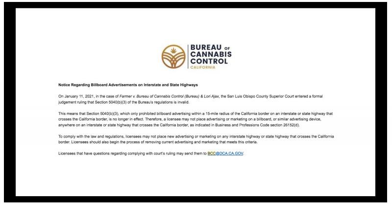 Screenshot of BCC notice