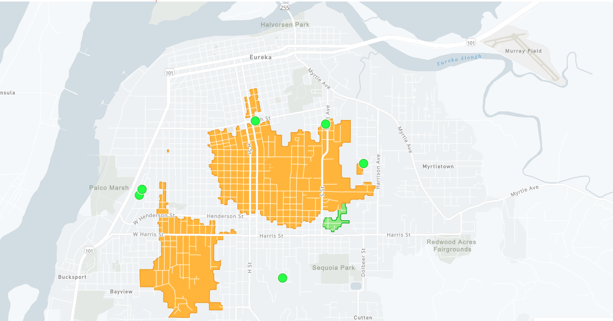 The yellow areas indicate customers without power.