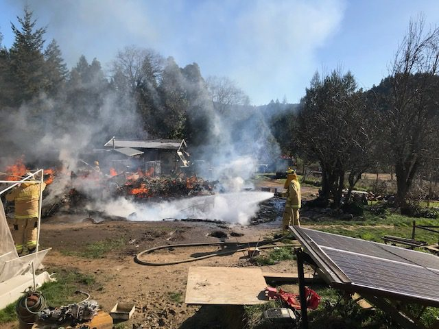 House destroyed by fire. [Photos from Telegraph Ridge Fire Department]
