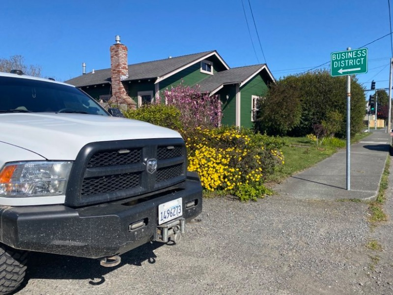 Humboldt County Sheriff's vehicle parked by a home today in the 2800 block of I Street in Eureka as deputies serve a search warrant.