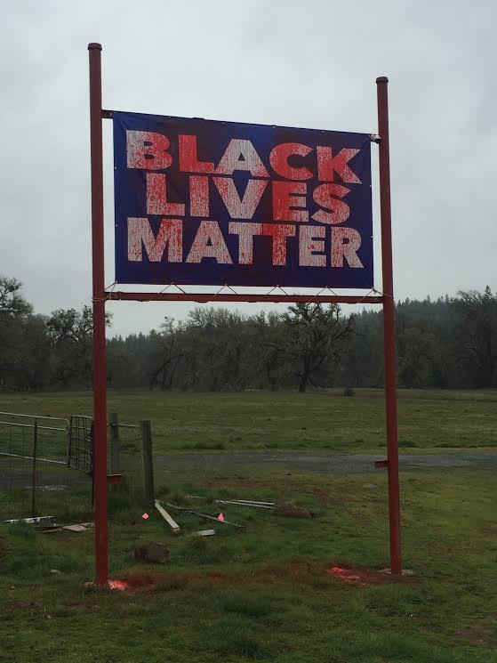 Black lives matter sign defaced