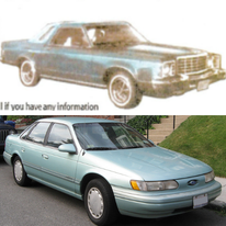 Top: The image of the 1974-1976 Ford Grenada or Mercury Monarch Karen was last seen getting inside of before she disappeared [Picture from a widely-circulated missing person poster] Bottom: A 1995 blue Ford Taurus similar to what Durst was driving when he was arrested in Mendocino County [Picture from WikiCommons.com]