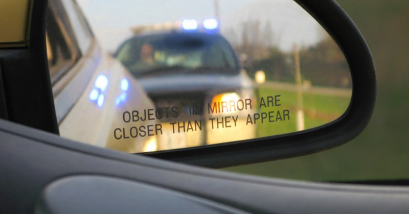 Traffic stop can stock photo
