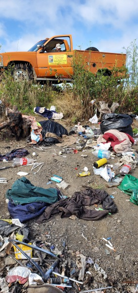 Trash dump site found at a previous cleanup. Photo Credit to Bruce Seivertson, THA Board Member