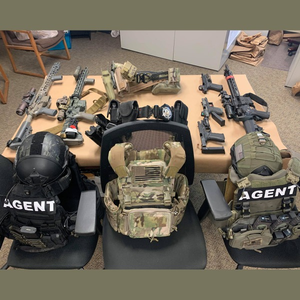 Tactical gear and military-grade weapons used during last September's robbery and kidnapping. [Picture provided by the Mendocino County Sheriff's Office]