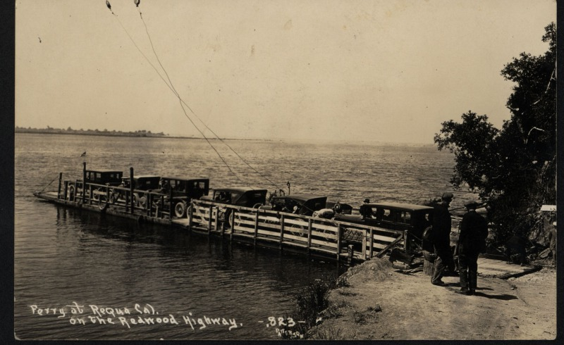 """The Ferry at Requa [Patterson Photo, courtesy of HSU Library Humboldt Room Photograph Collections, note:""""Mr. & Mrs. Busch running the ferry""""]"""