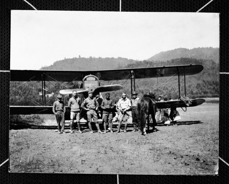 the first plane to land at Orleans, circa 1917[Photo courtesy of HSU Library Humboldt Room Photograph Collections, Palmquist collection]