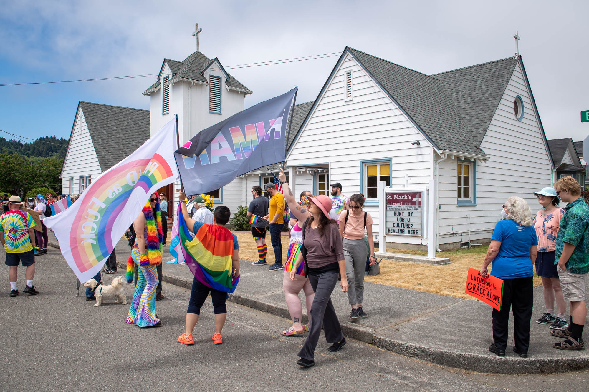 LGBT protest outside Ferndale Church.  Photo by Mark McKenna