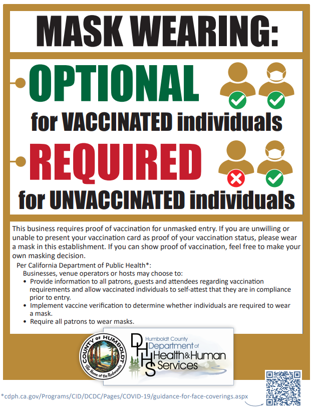 This poster option explains to visitors that proof of vaccination is expected, if a member of the public wants to enter without a mask.