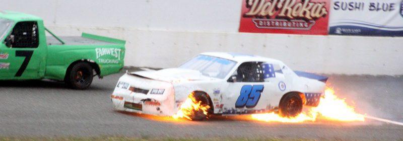Race car flames