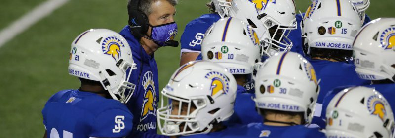 """The Spartans wore a green """"H"""" decal on the back of the helmet in recognition of Humboldt State's meaningful role in San Jose State's 2020 Mountain West Championship football season. Courtesy of San José State Football."""