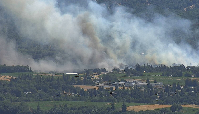 Black smoke rising from the Broiler Fire. [Screengrab from the AlertWildfire Cams]