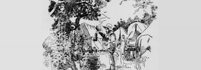 Sketch of a Brazilian Romani Camp from the San Francisco Call, 4/26/1896.