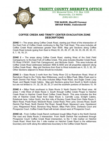 Trinity County Evacuation Zones 1